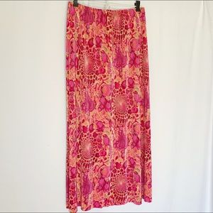 Pink Patterned Maxi Skirt